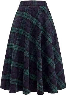 Long Wool Plaid Skirt with Pocket Women Elastic Waist A-Line Maxi Checkered Tartan Flare Winter Skirt