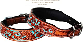 PRORIDER Medium 17''- 21'' Dog Puppy Collar Hand Tooled and Painted Cow Leather Western 6047