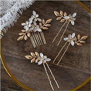 Hair Clip Gold Silver Color Leaf Wedding Hair Comb Pins Set Opal Bridal Hair Jewelry Accessories Women Headpiece (Metallfa...