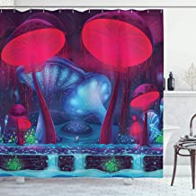 Ambesonne Mushroom Shower Curtain, Magic Mushrooms with Vibrant Neon Design Graphic Image Enchanted Forest Theme Print, Cloth Fabric Bathroom Decor Set with Hooks, 70 Long, Blue Red