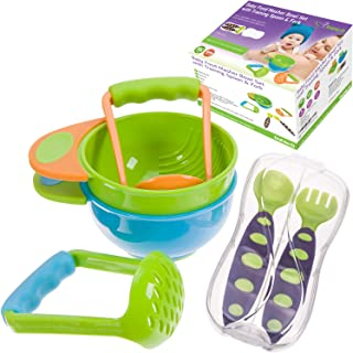 Mash & Serve Baby Bowl Set to Make Baby Food BPA Free with Toddler Training Spoon and Fork with Travel Case Great Baby Shower Gift