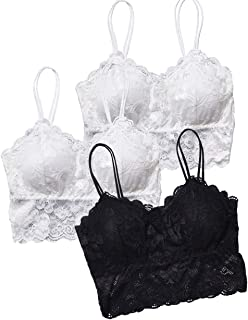SERAPHY 3 Pieces Lace Bra Camisole Bralette Lace Bandeau Bra Lace Top for Women Girls Wireless Yoga Activewear Bra with Re...