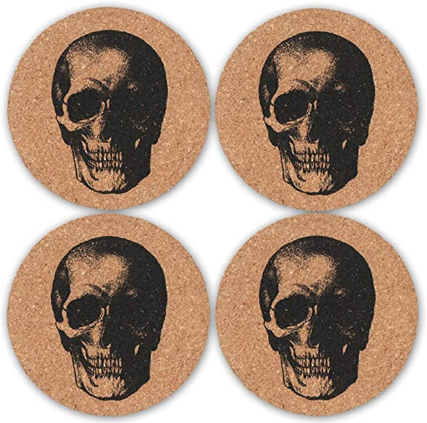 Skull Cork Coasters For Drinks Set Of 4 Funny Skull Vintage Drink Coasters Great Gift For Kitchen Living Room Home Decor Protects Furniture From Damage