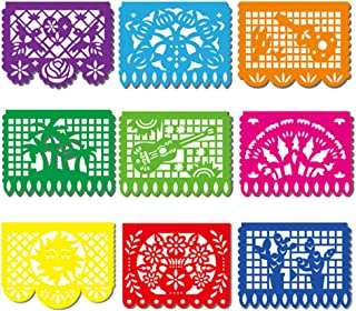 DomeStar Fiesta Banner, 18 Feet Fiesta Garland Mexican Banner Plastic Papel Picado Mexican Party Decorations