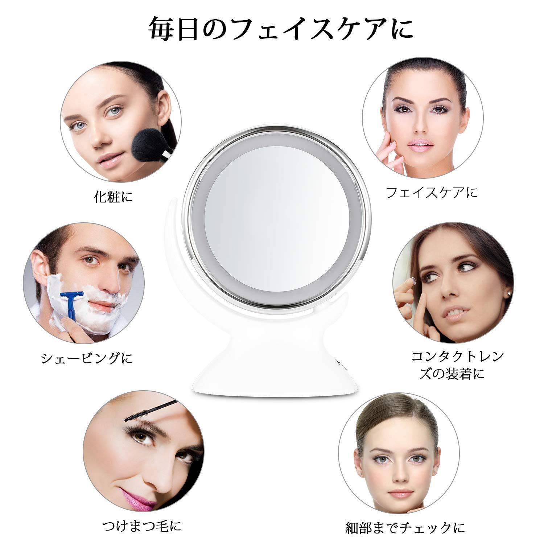 卓上ミラー Nexgadget LED ミラー 鏡 両面鏡 5倍 拡大鏡 女優ミラー 360度調整可能 単三電池付