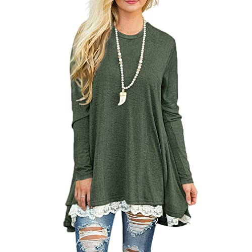 dd67c6645c21e Sanifer Women Lace Long Sleeve Tunic Top Blouse