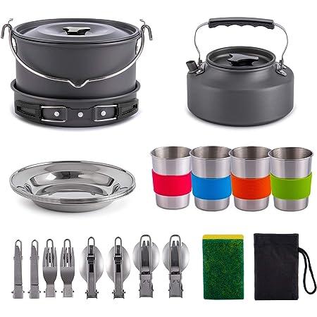 Gonex 11pcs/13pcs/16pcs/21pcs Camping Cookware Set Mess Kit, Backpacking Gear Cooking Equipment, Stackable Portable Non Stick Pot Pan Cook for Outdoors Hiking
