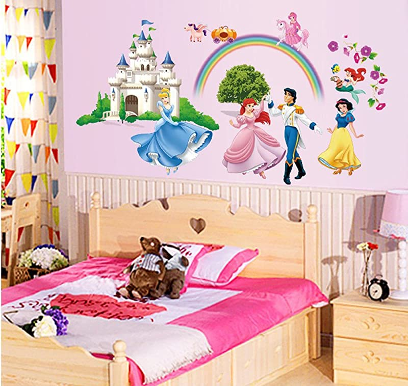 Ufengke Princess Castle Princess And Prince Wall Decals Children S Room Nursery Removable Wall Stickers Murals