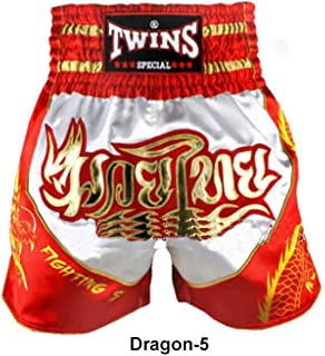 White/Gold TBS-DRAGON 4 Shorts & Trousers Twins Special Muay Thai Shorts Dragon
