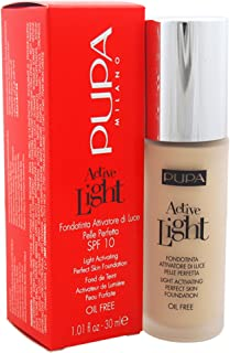 Pupa Milano Active Light Activating Perfect Skin SPF 10 Foundation, No. 002/Ivory, 1 Ounce
