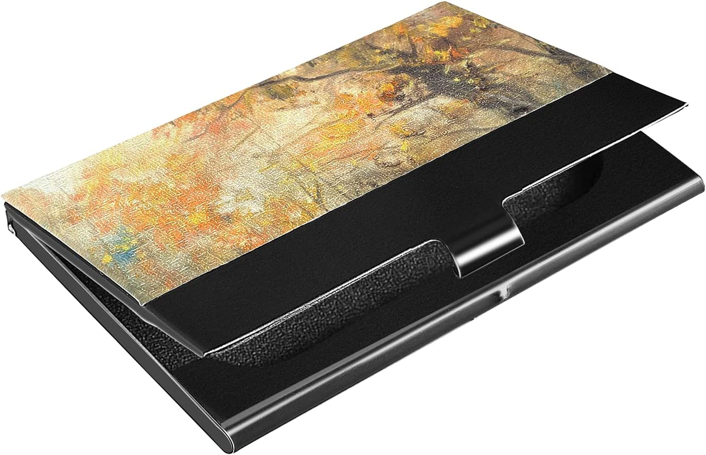 OTVEE Autumn Tree Business Card Holder Wallet Stainless Steel & Leather Pocket Business Card Case Organizer Slim Name Card ID Card Holders Credit Card Wallet Carrier Purse for Women Men