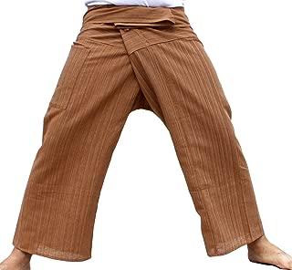 Brand Light Striped Cotton Thailand Fisherman Wrap Pants