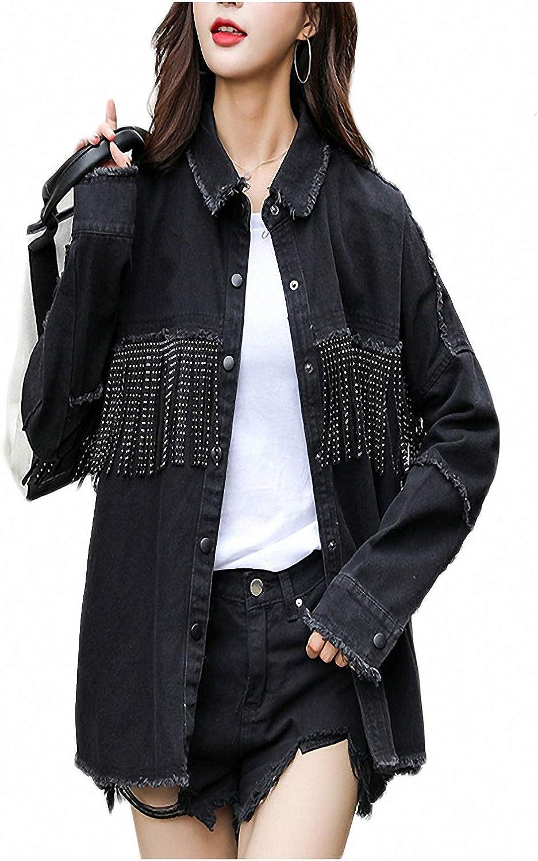 Zyhoi Vintage Fringe Beaded Loose Denim Jacket Coat Women Frayed Trim Ladies Black Outerwear