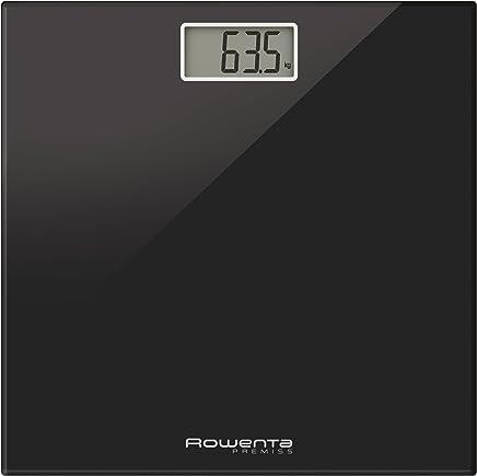 Rowenta Premiss - Báscula Digital con Pantalla LCD, compacta, Capacidad de 150 kg, Plataforma de Vidrio y Apagado automático Que Incluye Pilas, Negro