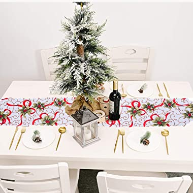 Christmas Table Runner Holly Leaf Table Runners White Table Runner Flag Party Ornaments Decorations Family Dinner Desktop Top