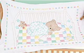 Jack Dempsey Stamped Quilt Crib Top, 40 by 60-Inch, Snuggly Teddy, White