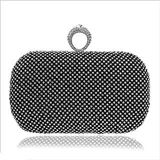 DIEBELLAU Women's Diamond Dinner Bag Women's Luxury Party Bag Evening Clutch Bag (Color : Black, Size : XS)