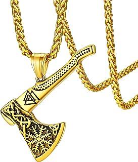 قلادة فايكنغ آكس من فيث هارت للرجال والنساء مصنوعة من الفولاذ المقاوم للصدأ مجوهرات الفايكنج مع تغليف هدايا رقيق