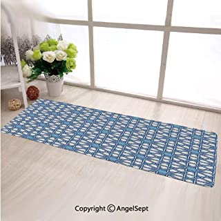 Ultra Soft Indoor Modern Area Rugs,Traditional Moorish Turkish Tangled Pattern and Geometric Lines Mosque Islamic ArtBlue White,Living Room Carpets Suitable For Children