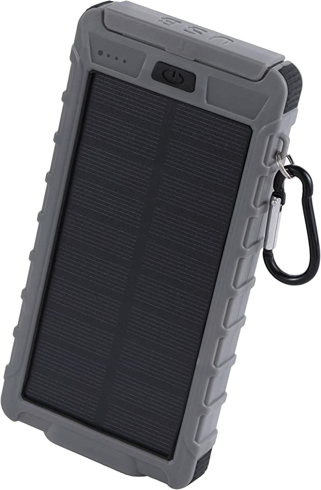 Aduro PowerUp Solar Power Bank 10,000mAh Dual USB Backup Solar Battery Charger with Flashlight Grey