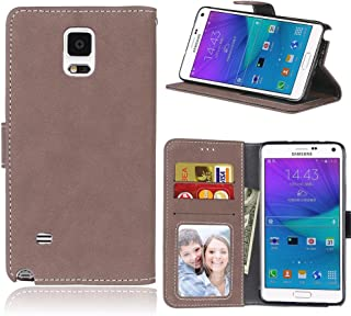 Protective Case Compatible with Samsung Compatible Samsung Galaxy Note 4 Retro Style Solid Color Premium PU Leather Wallet Case Flip Folio Protective Case Cover with Card Slot/Stand Phone case