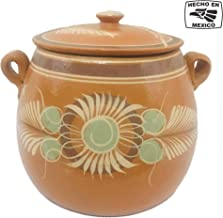 Mexican Handmade Cooking Pot (5 QT) Made of Clay Terra Cotta Traditional Assorted Designs Ideal for Cooking Beans, Rice, Soup