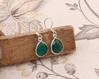 Pendientes de plata de ley para mujeres, pendientes de gota, aretes de ónix verde pera, pendientes colgantes Plata Aretes, Sterling Silver Earrings for Women