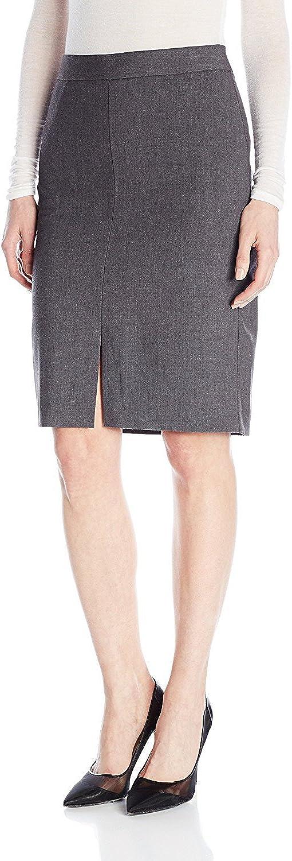 kensie Women's Heather Stretch Crepe Pencil Skirt