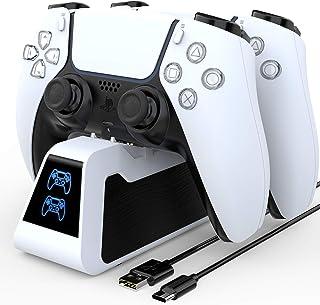 HEYSTOP PS5 laddningsstation 2.6A superladdare dubbel snabb PS5-styrenhet laddare DualSense laddningsstation med PS5-tillb...