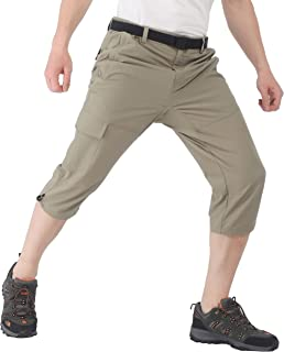 Men's Quick Dry Hiking Capris Pants Lightweight Stretchy Cargo Shorts Below Knee with 5 Pockets, Water Resistant