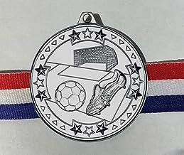 Trophy Shack LTD 15 x 50mm diameter zilverkleurige voetbalmedailles met GRATIS medaille linten (7350S)