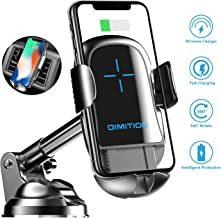 Cell Phone Holder for Car, Automatic Clamping Car Phone Mount Qi Wireless Car Charger Dashboard/Air Vent Car Mount Compatible with iPhone 8 Plus XS Max X 11 Pro, Samsung Galaxy S9 S10 Plus Note 9 10