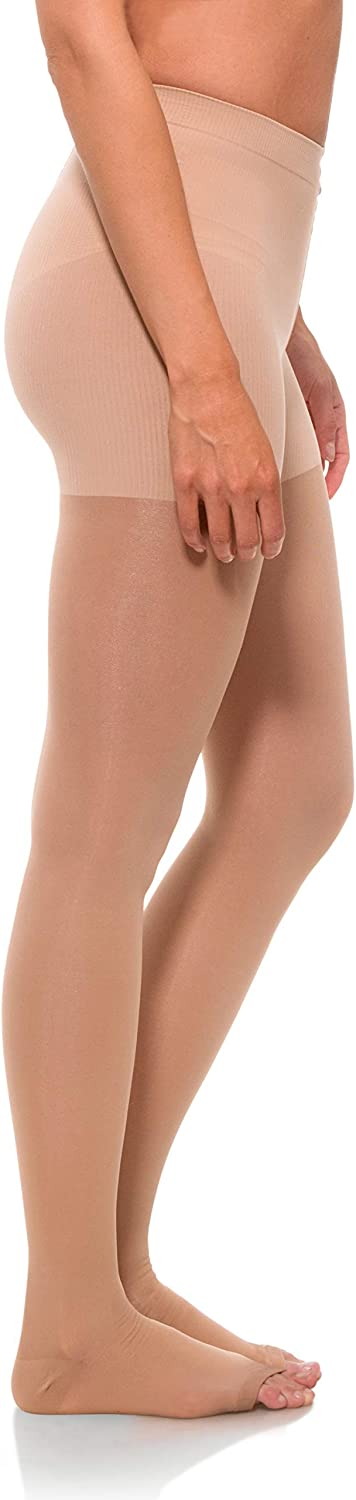 Jomi Compression Pantyhose Women Collection, 20-30mmHg Sheer Open Toe 245PO (Small, Natural)