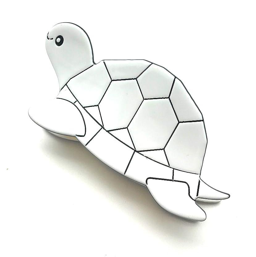 手錠どうやって水銀のアニマルモチーフ 白黒 モノクロ 動物 ワニクリップヘアクリップ H-1317(M, カメ)