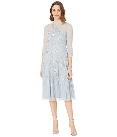 Adrianna Papell Beaded Covered Midi Fit-and-Flare Cocktail Dress (Blue Heather) Women