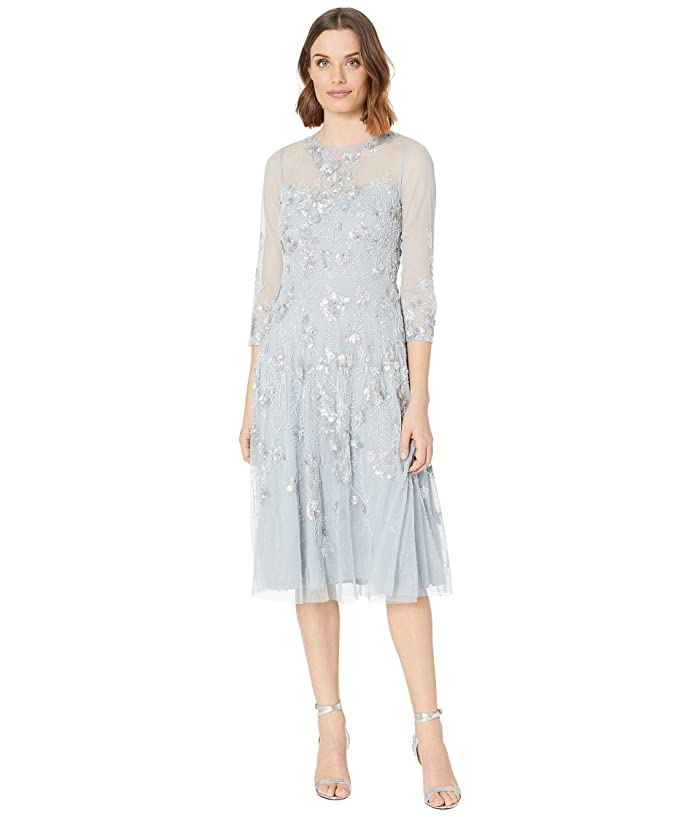 1920s Evening Dresses & Formal Gowns Adrianna Papell Beaded Covered Midi Fit-and-Flare Cocktail Dress Blue Heather Womens Dress $167.40 AT vintagedancer.com