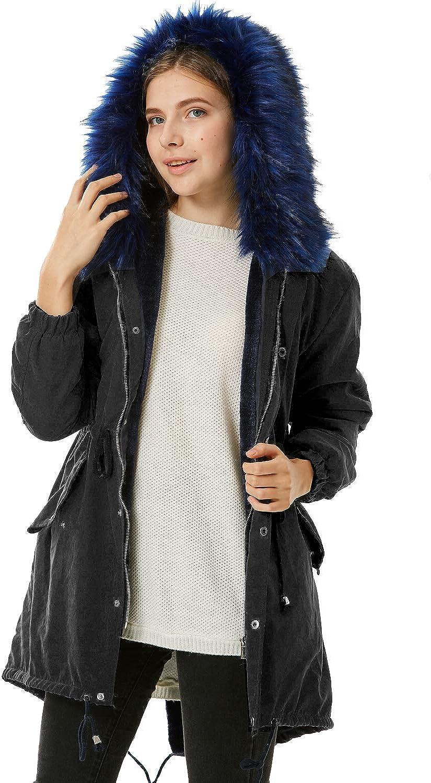 kooosin Women Faux Fur Hooded Fleece Lined Parka Jacket Zip Up Long Warm Winter Coat Plus Size…