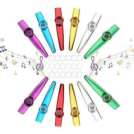 Herefun 12 Piezas Kazoos Metal Kazoo Instrumentos Musicales Flauta Kazoo Flauta Kazoo con 18 Membrana Kazoo Adicional para Guitarra, Violín, Piano ...