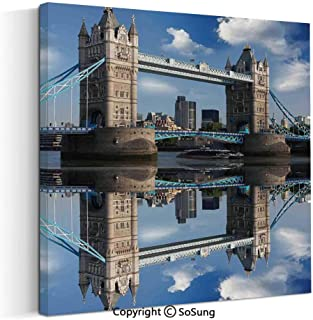 Canvas Wall Art Home Decorations for Bedroom Living Room Tower Bridge with City Cruise in Summer Day Mirroring on Tranquil Thames River Oil Paintings Canvas Prints Framed 24x24inch Taupe and Blue