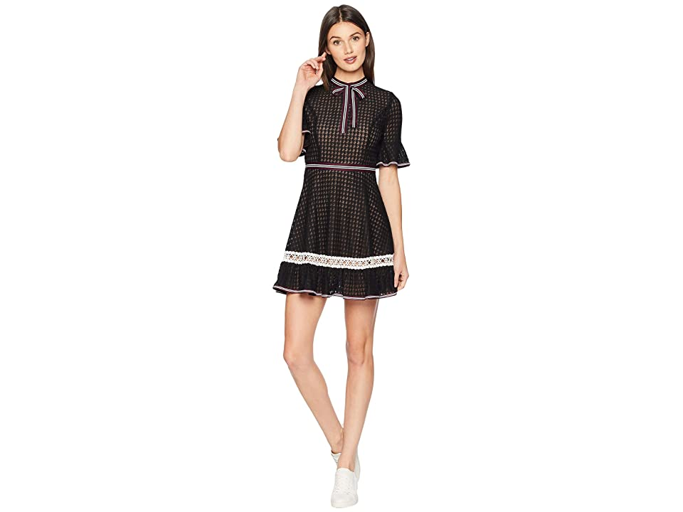 J.O.A. Bow Neck Fit and Flare Dress (Black Lace) Women