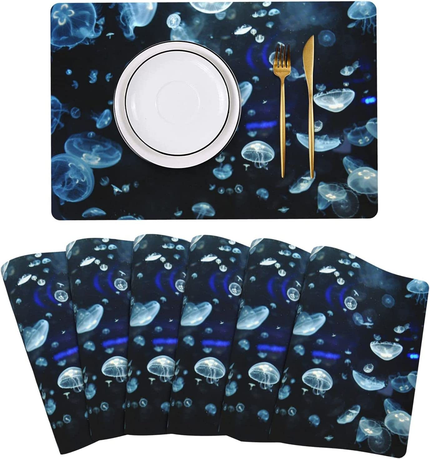 Jellyfish Placemat Leather Table Mats We OFFer at cheap prices Set Easy of Clean Super sale 6 Hea to