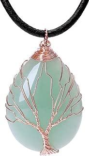Tree of Life Teardrop Heart Amethyst Opal Pendant Necklace Copper Wire Wrapped Gemstone Healing Chakra Necklace Choker 18
