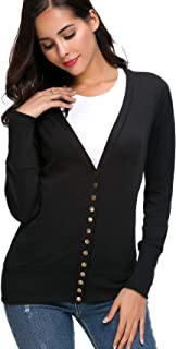 Women's Long Sleeve V-Neck Snap Button Down Soft Knit Ribbed Neckline Sweater Cardigans