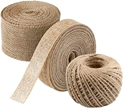3 PCS Burlap Ribbon Set,11 Yards Natural Fabric Craft Ribbon with 165 Feet Jute Twine for Wedding Event Party and Home Dec...
