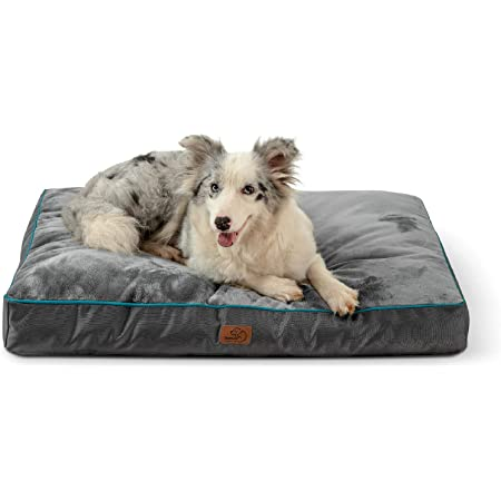 Bedsure Waterproof Dog Beds for Large Dogs - Large Dog Bed with Washable Cover, Pet Bed Mat Pillows for Medium, Extra Large Dogs, Grey