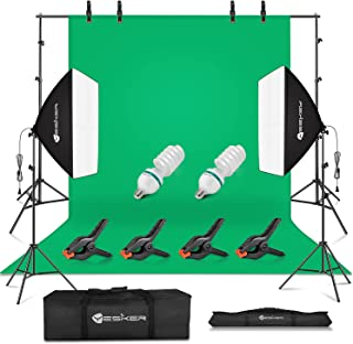 Yesker Studio Photography Lighting Kit, 8.5x10ft Background Support System, 5500k Day Light Bulbs, Softbox Continuous Lighting Equipment for Portrait Photo Video Shooting