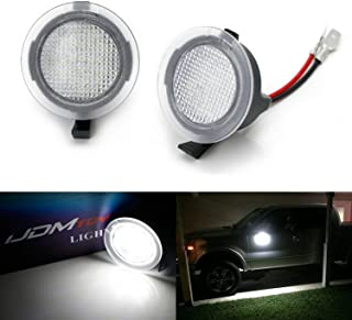iJDMTOY White LED Under Side Mirror Puddle Lights Compatible With Ford F150 Raptor Edge Explorer Flex,  Lincoln Navigator Mark LT MKX etc. (Powered by 18 pcs White SMD LED Lights)