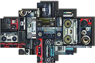 Black and White Wall Art Rustic Home Decor for Living Room Retro Radio Boombox Posters and Prints on Canvas Vintage Audio Pictures Paintings 5 Pcs/Set Artwork Giclee Framed Ready To Hang(60''Wx40''H)