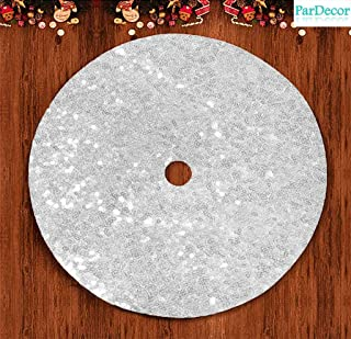 Pardecor 21 Inch Christmas Tree Skirt Silver Sequin Tree Skirt Glitter Tree Skirt Mesh Tree Skirt Christmas Decorations
