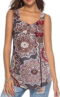 Women's Summer Sleeveless Buttons Up Neck Casual Tank Tops Basic Flowy Blouse